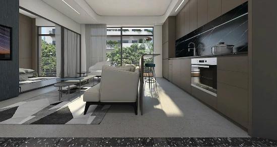 55㎡灰棕+绿,打造怀旧轻时尚风格住宅插图