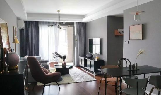 89平高级灰+绿北欧三居,软装前后对比插图